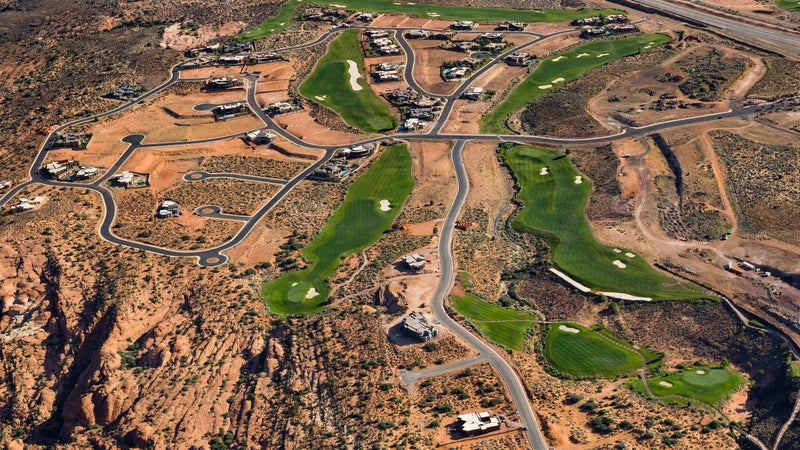Aerial view of St. George, Utah golf courses