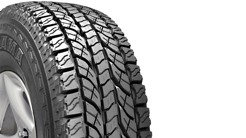 Check out the tread on this Yokohama Geolandar A/T-S. The deep lateral grooves will clear standing water, and the aggressive transverse blocks will grip snow or mud. Siping (the squiggly lines) enables the tread to flex and mechanically key with rocks. The reinforced sidewalls prevent damage to the tire's most vulnerable section.