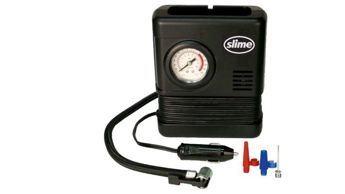 It's basic but reliable. An air compressor like this one belongs in every car. It enables you to reinflate a tire anywhere following a puncture repair and take the pressure back up at the end of a dirt road so all your pavement miles are done safely.