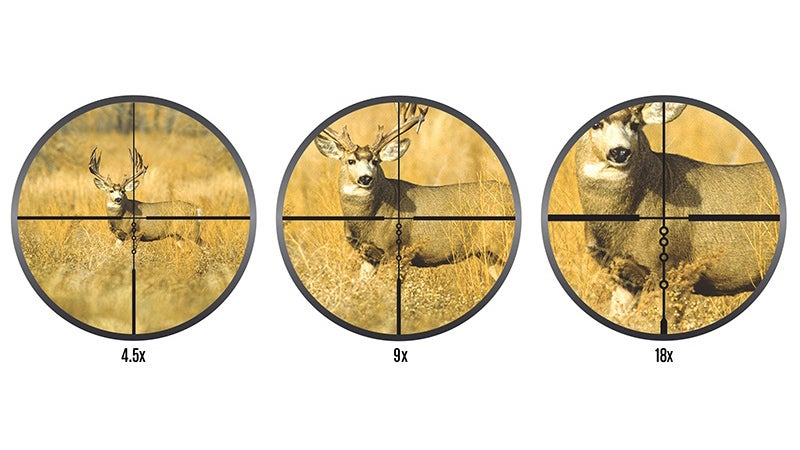 First focal plane reticles remain constant relative to the target. That means they're very small on low magnification (basically just a crosshair), then grow in visible size as you zoom. Plug your caliber and bullet weight into Nikon's smartphone app, and it'll kick out exact ranges for each of the bubbles below that crosshair, giving you accurate holdovers without needing to sight in for each distance.
