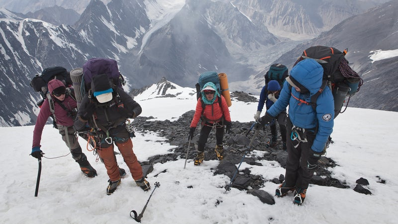 Yousoufi and the expedition team moving from Camp 3 to Camp 4.