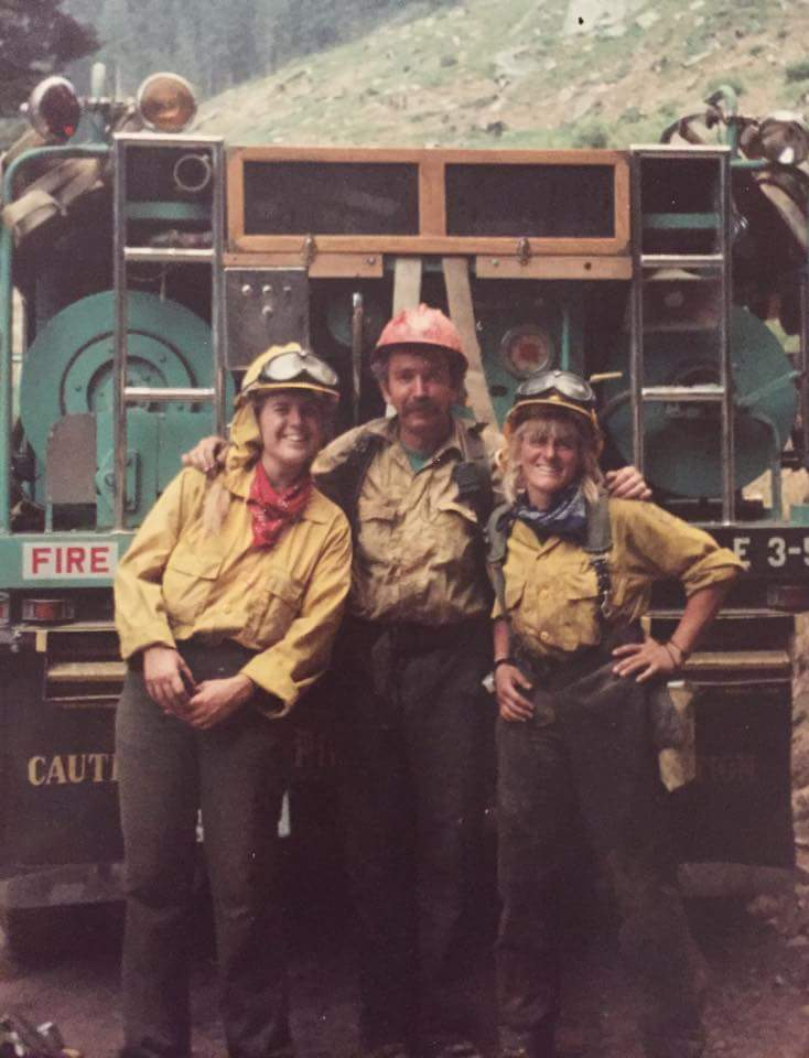 Darlene Hall (right) working a fire in 1995.