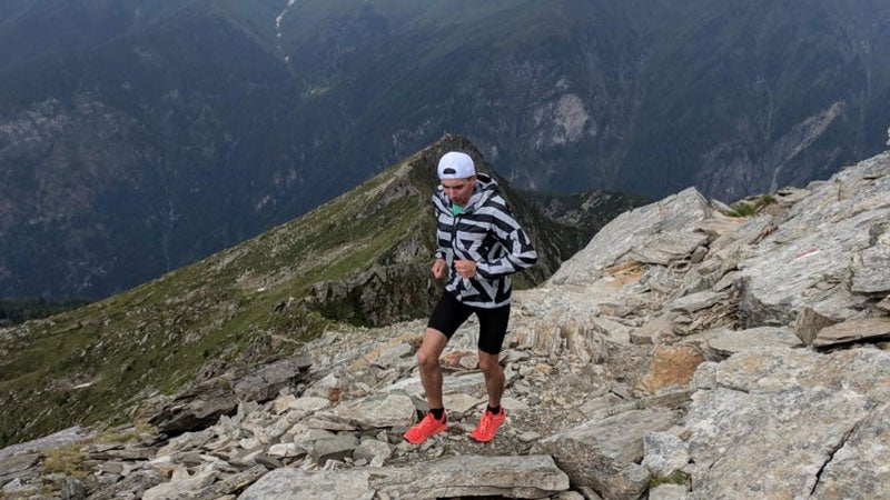 One tester putting the socks to test during his trip to the French Alps.