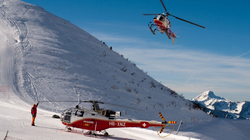 Helicopters run by Air Glacier who, along with Air Zermatt, worked to rescue the group by the Vignettes hut.