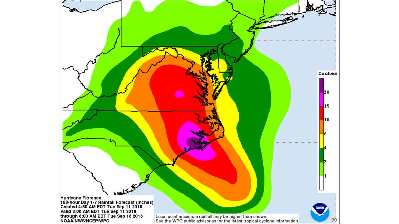 The slow-moving rain is predicted to dump vast quantities of rain in the Carolinas, and Virginia.