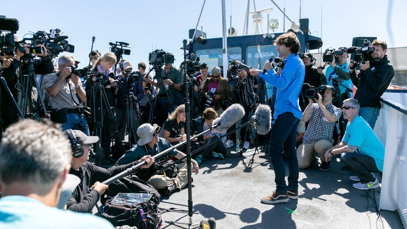 Boyan Slat talks to the press on the day of the System 001 launch.