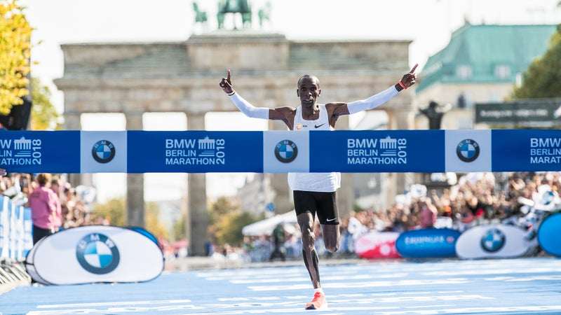 Kipchoge ran a time of 2:01:39, slicing a stunning 78 seconds off the previous world record.