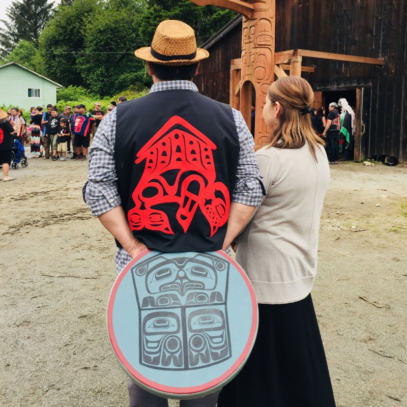 Scene from the potlatch and pole-raising.