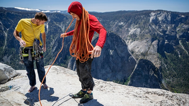 Tommy Caldwell and Alex Honnold on the top of El Capitan.