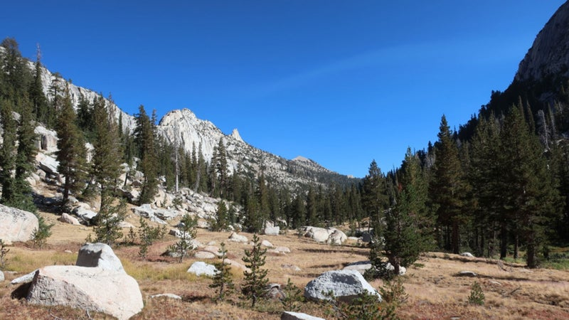 Echo Creek offers a quiet route between the Clark Range and Tuolumne Meadows and is more consistent with a high route than the dusty horse highways over Cathedral and Tuolumne passes.