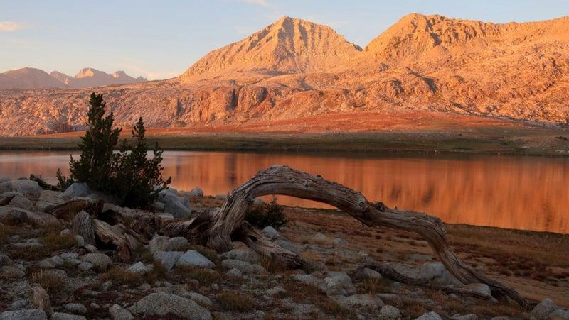 Alpenglow, with Foerster Peak prominent across Harriet Lake.