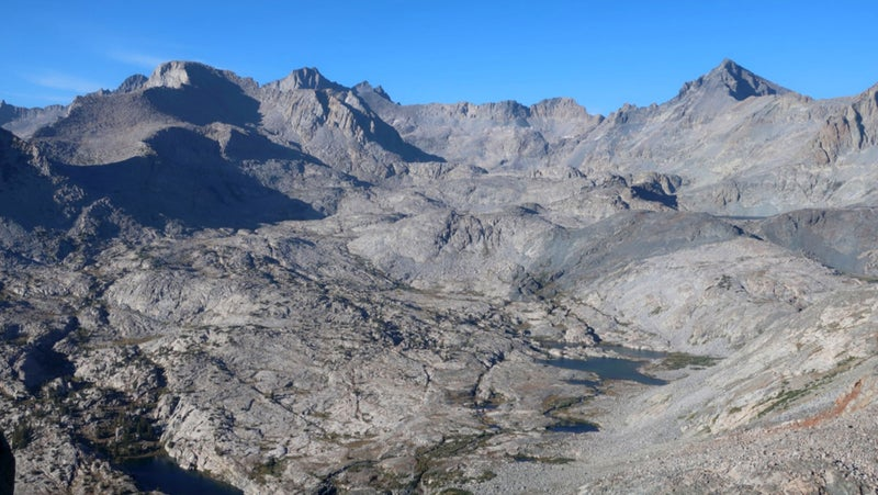 A rarely seen sight: the headwaters of the Lyell Fork of the Merced, as seen from Foerster Ridge Pass.