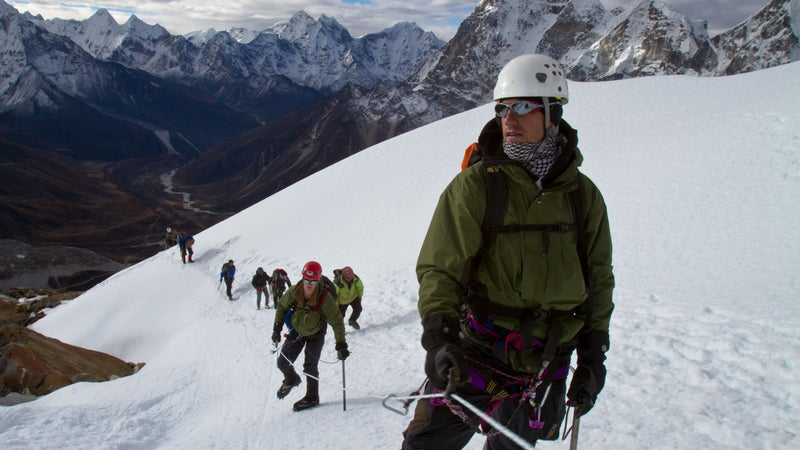 Sidles (front) and the author (behind) nearing the summit of Lobuche East in Nepal in 2010.