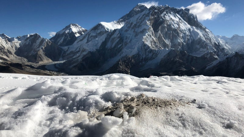 A portion of Sidles's ashes, scattered on Lobuche East.