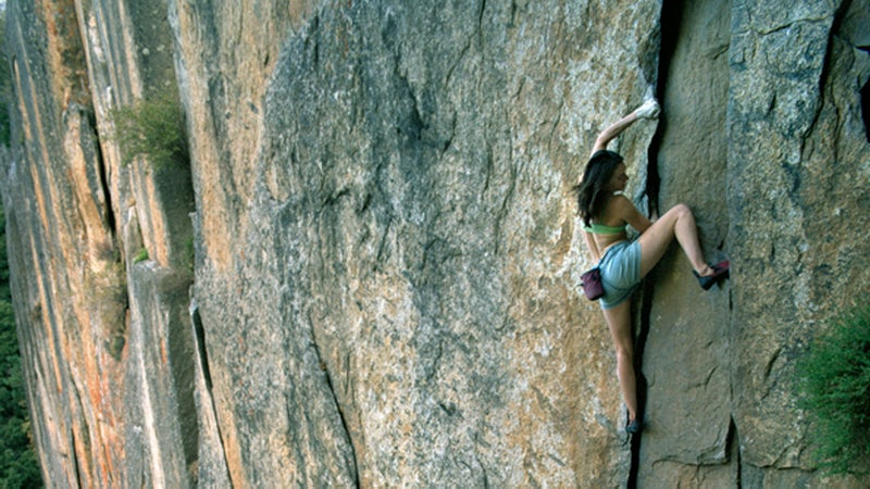 Steph Davis rock climbing in Yosemite