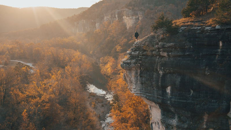 The 37-mile western segment of the Buffalo River Trail, in Arkansas, weaves along both the riverbed and clifftops of Buffalo National River.
