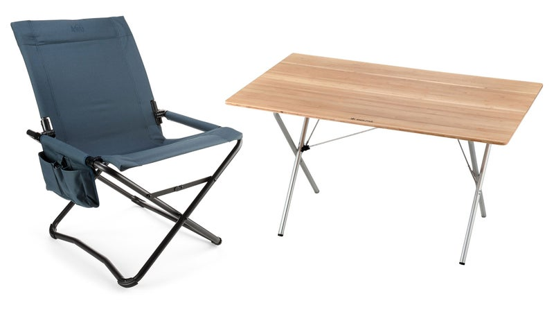 blue camp chair and wooden table