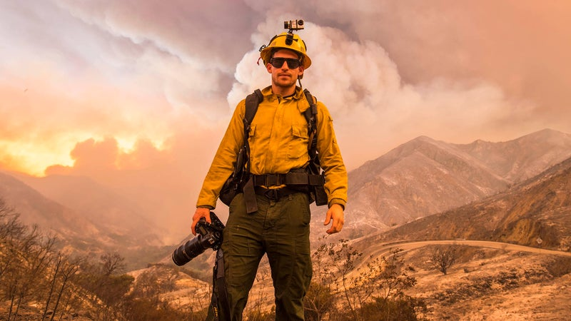 Palley works as a freelance fire photographer for the Forest Service, meaning he needs to have much of the same training and gear as the firefighters.