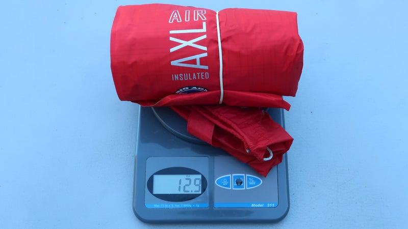 My 20-by-72-inch Insulated AXL came in at 12.6 ounces (including 0.3 ounces for the stuffsack), which was 0.7 ounces over its spec weight.