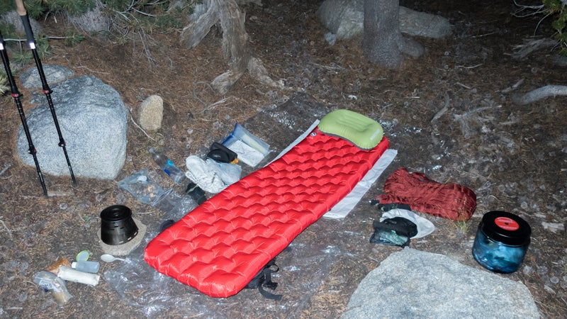 My cowboy camp in upper Conness Creek on the Yosemite High Route in August. (My quilt was air-drying in a nearby bush.) Nighttime temperatures were normally in the high 30s to low 40s, and I found the Insulated AXL to be sufficiently warm.