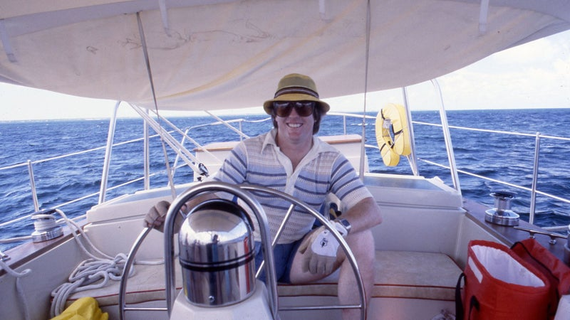 Sailing in the Bahamas in 1981.
