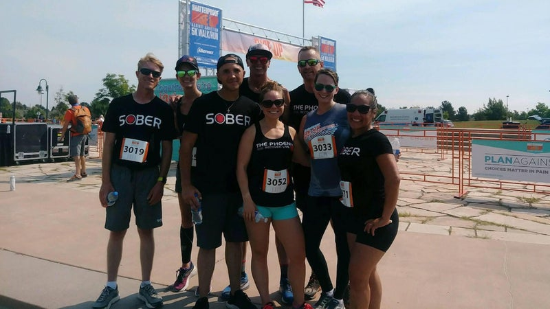 Whitney Mielke and friends attending the Denver Shatterproof Rise Up Against Addiction 5K in July