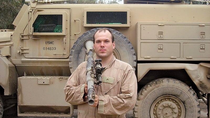 Noah as a gunner in Iraq