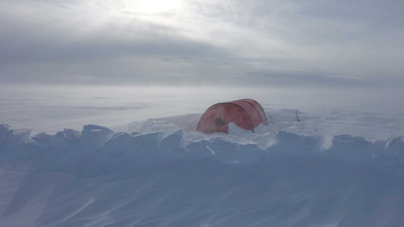 August 2018: O'Brady's tent on expedition, crossing the 400 mile Greenland icecap in preparation and training for the Antarctica crossing.