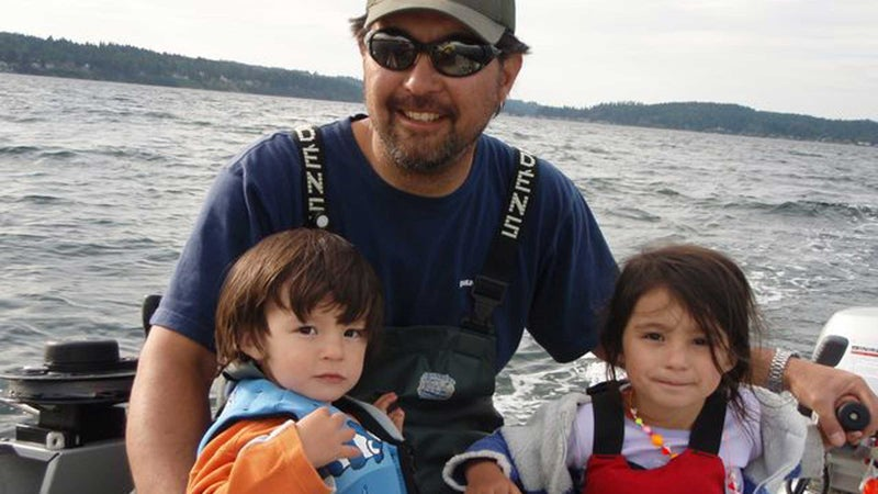 The author with Weston and Skyla on Puget Sound.