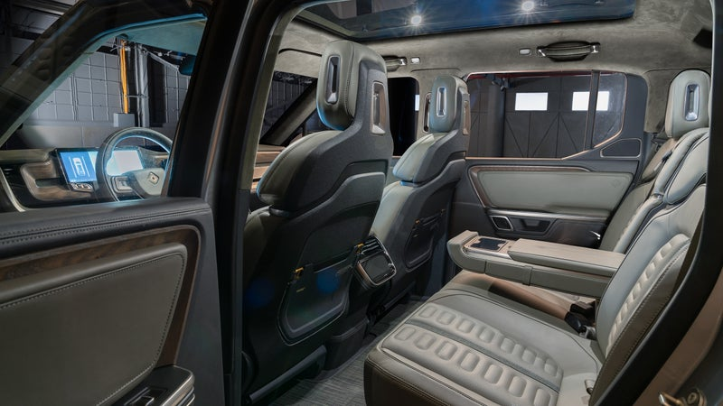 In another concept car touch, Rivian says its interiors can be hosed clean. Borrowing a leaf from Jonathan Ward's playbook, floormats are indestructible chilewich.