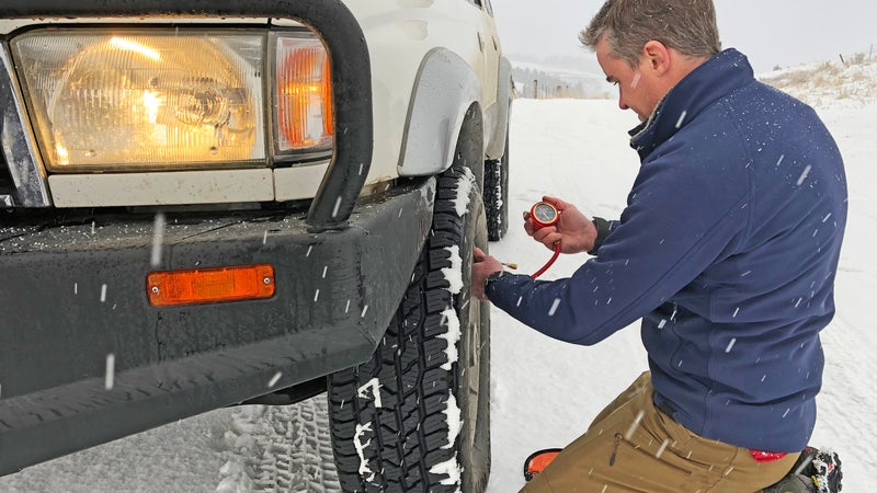 You should run standard tire pressures on winter roads, but any time you're heading into deep snow, or off-road, dropping those pressures is essential if you hope to find grip. An ARB E-Z Deflator makes that a 90-second, rather than 20-minute job.