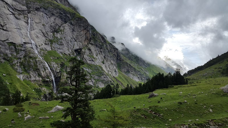 The path to Mantalai Lake, high in the Parvati Valley, follows the Parvati River to its glacial source.