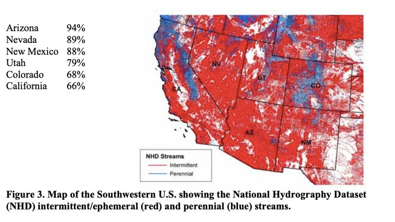 Basically, everything shaded red will lose federal protection. This would impact the drinking water for 40 million people in the Southwest.