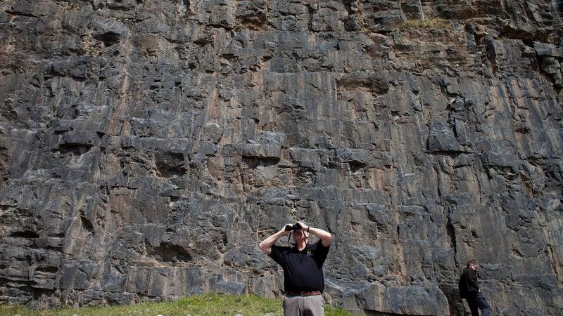 McWilliam scanning the Rhondda cliffs