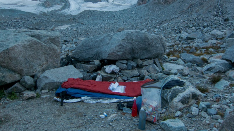 At this established camp at the foot of the Dinwoody Glacier, I should have known that rodents could be an issue and either hung my food or used a rodent-resistant sack. Instead, one chewed a small hole in my Opsak food bag.
