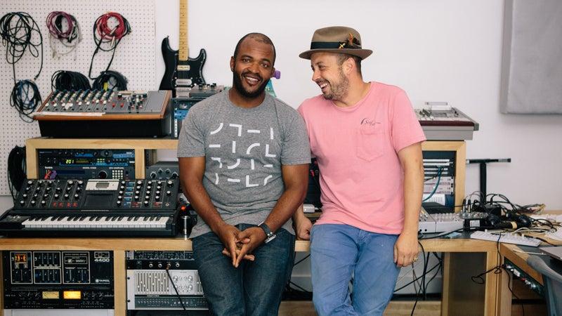 Masekela in the studio with bandmate Sunny Levine