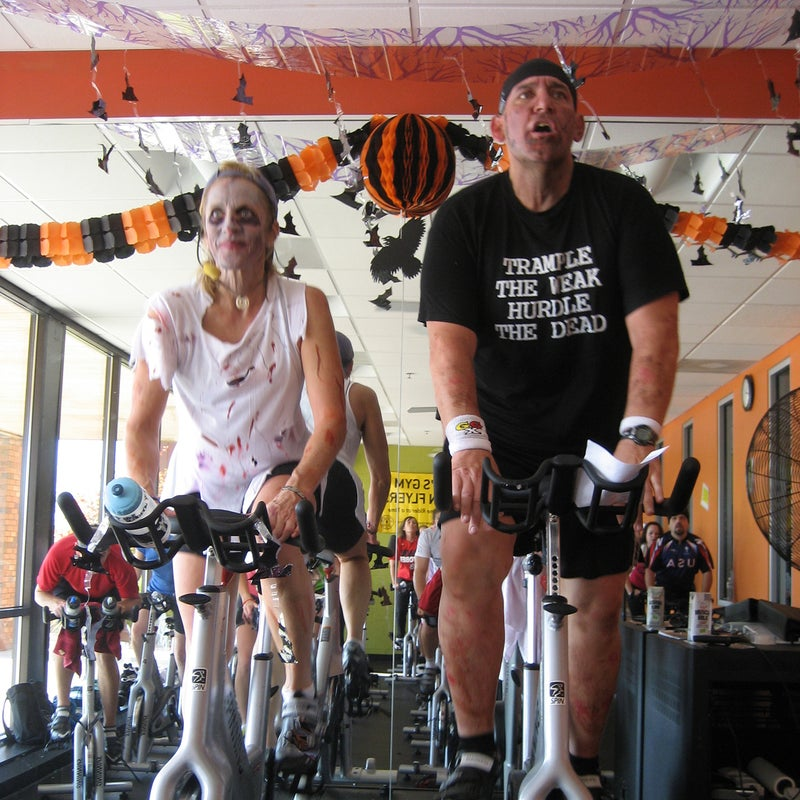 Phil Bruno teaching a Halloween spin class in 2011