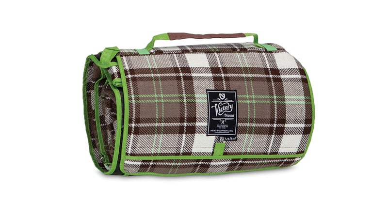 With a flannel top, and waterproof bottom, the Victory blanket makes an ideal tent floor.