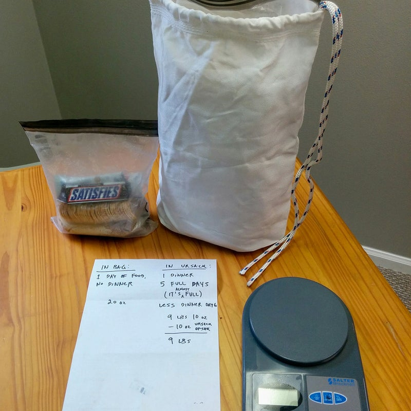 My packed food prior to a trip to Glacier National Park, where Ursacks are allowed. My note says that I had five days of food in the Opsak and that it was almost full. I used the smaller 6-by-9-inch size for my daytime food.
