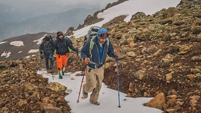 Bahjat, the author, and Musa climb Mount Halgurd.