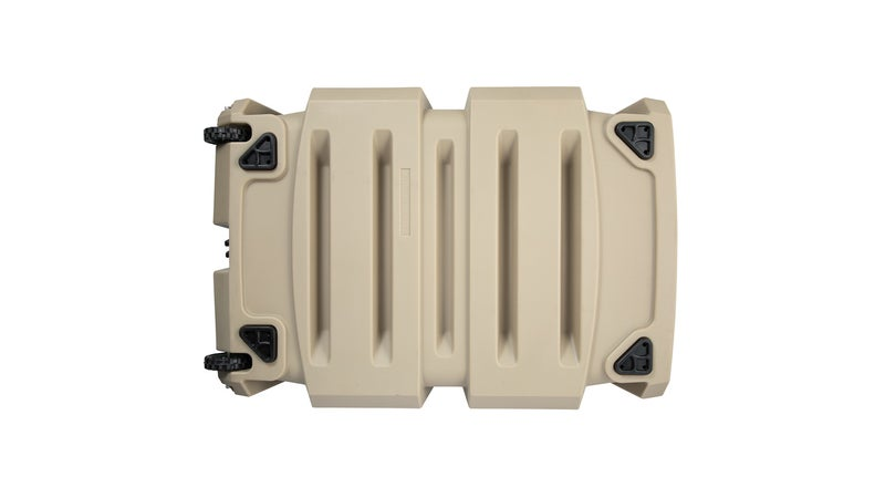 This view of the underside shows the rubber feet, the wheels (size large only), and the ribbed contours that help endow the crate with so much strength.