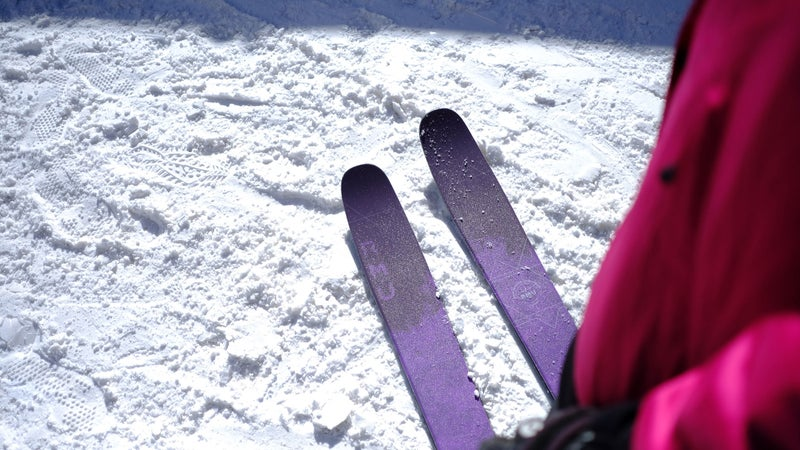 Keri Herman tests out the new RMU Valhalla women's skis.