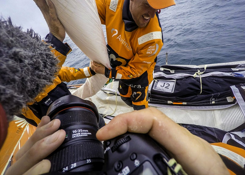 Taken on May 23rd, 2015 during the 2014-2015 Volvo Ocean Race with Team Alvimedica. A shot on deck from photographer Amory Ross's point of view.