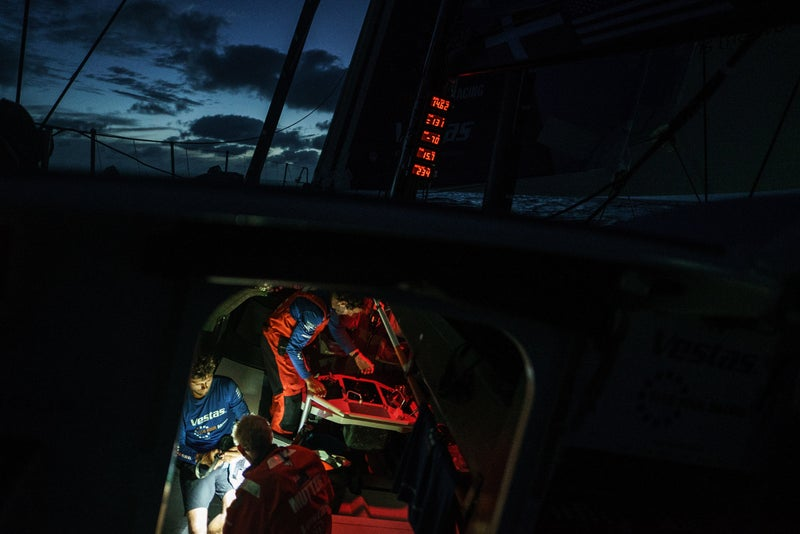 Photographed on January 18, 2018, during the fourth leg of the Volvo Ocean Race from Melbourne to Hong Kong. It's day 17 for Vestas 11th Hour Racing.