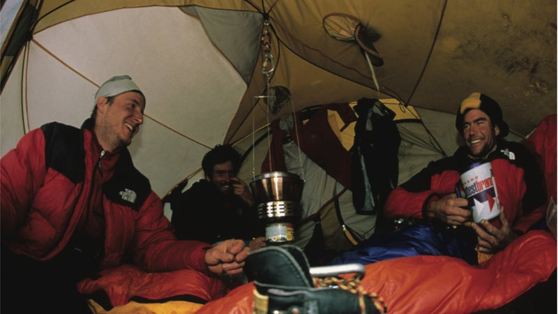 From left to right: Jared Ogden, the author, and Lowe camped at the base of the headwall after a harrowing descent in a storm.