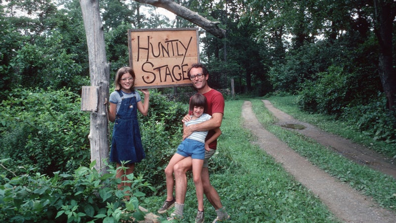 The author (at right) with her sister and father at his farm in Virginia, 1978