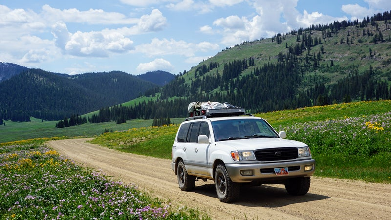 The $150 roof rack comes in handy on trips like this one through western Wyoming.