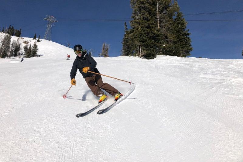 Skiing in the Black Crows Ventus Light jacket