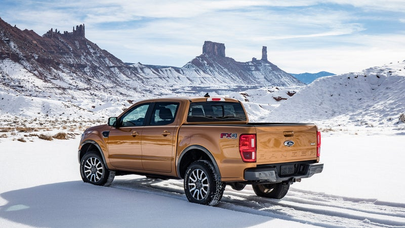 Only two body styles are available on the Ranger. Both the four-door SuperCrew and suicide-door SuperCab share the same wheelbase, but the four-door loses a foot of bed length.