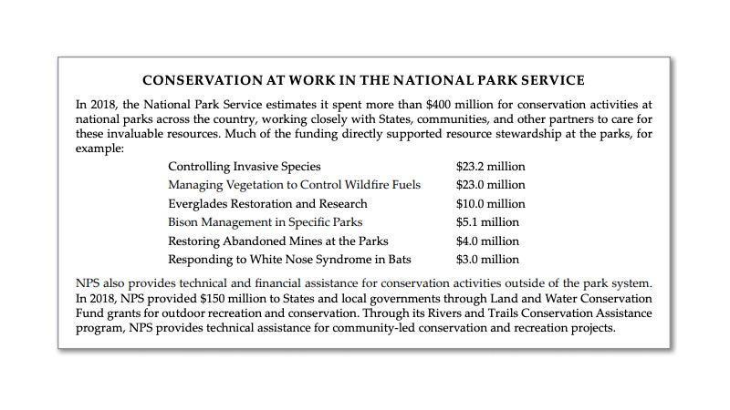 The proposed budget contains a lot of language like this, celebrating the importance and achievements of the various DOI bureau's, including the National Park Service.